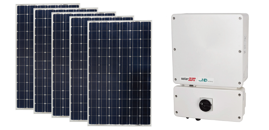 Four solar panels with a SolarEdge power inverter